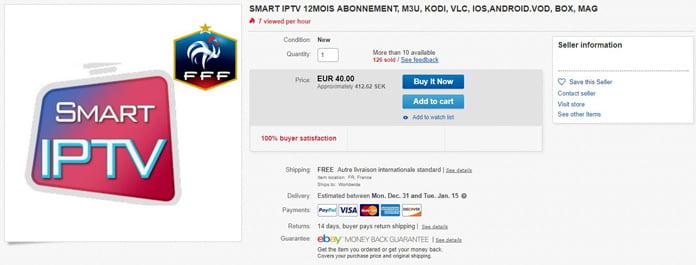 Kodi Smart IPTV-annons Ebay