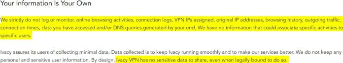 ivacy-sparar-inga-loggar-enligt-användaravta