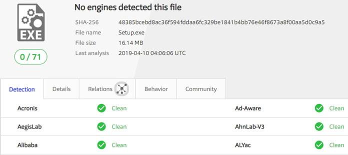 vpnhub-test-virustotal-inget-virus-hittades..