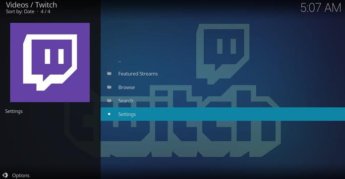 twitch-appens-huvudmeny