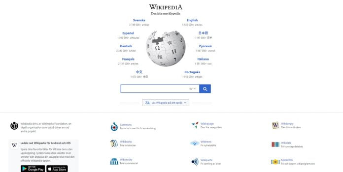 wikipedia-landningssida