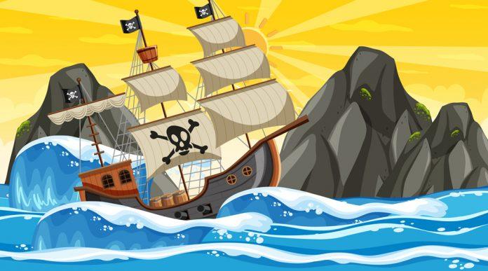Piratskepp seglar pa stormigt hav