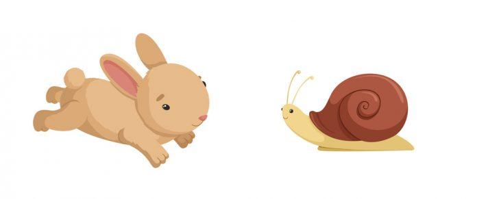 En hare och en snigel