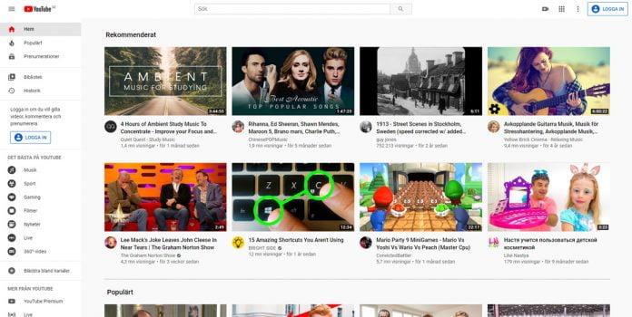 youtube-landningssida