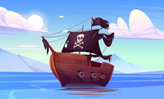 Piratskepp med djupa vagor