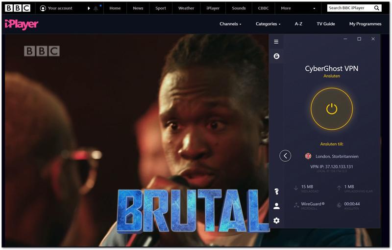 BBC iPlayer med Cyberghost