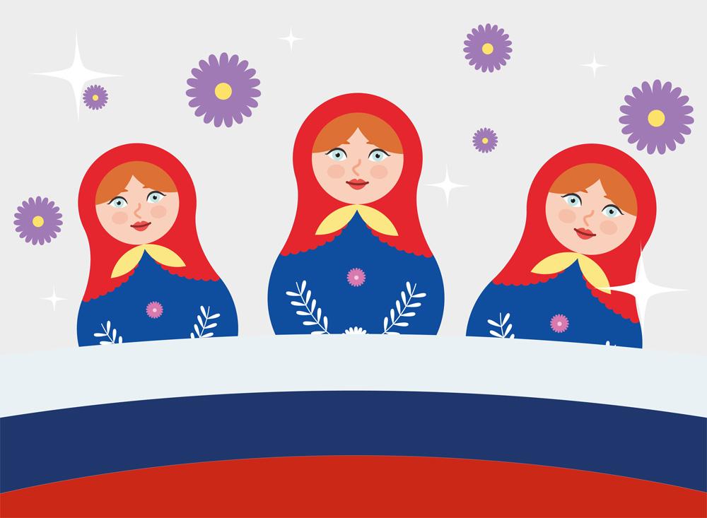 3 ryska dockor