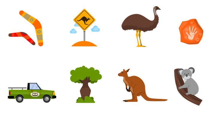 Australien turistbild med koala och kanguru