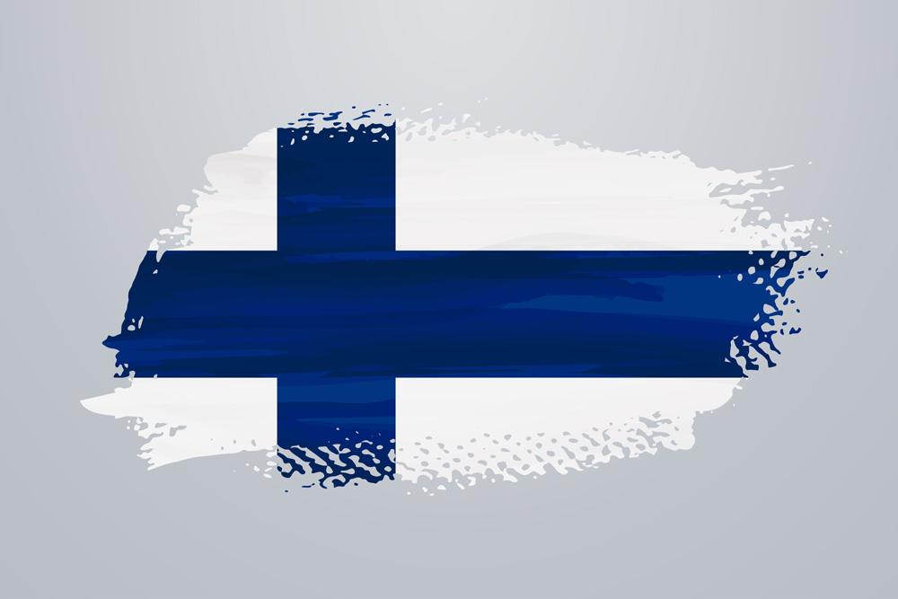 Finland flagga malad med vattenfarg
