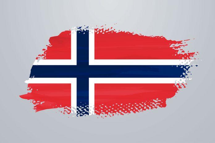 Vattenmalad flagga pa norge