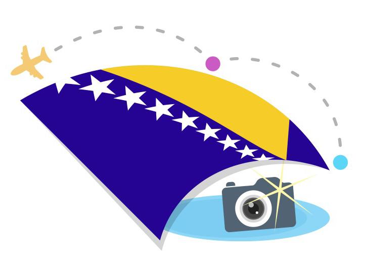 Bosnien bild med flygplan och flagga