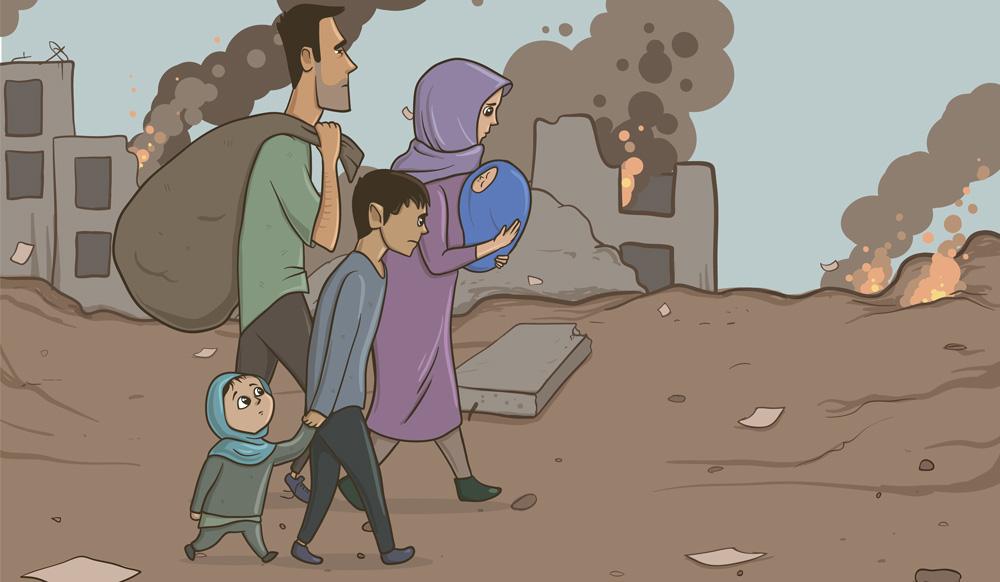 Flyktingar ar ledsna och gar pa en grusvag