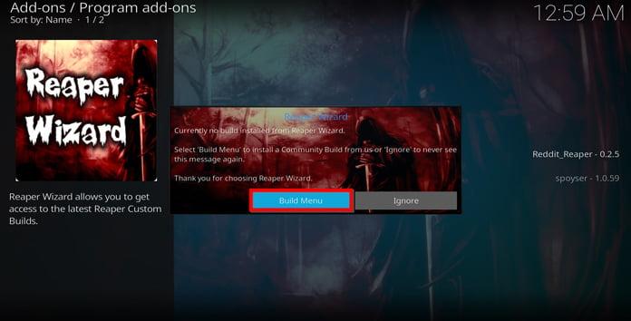 välj-build-menu